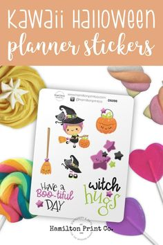 Cute Halloween Stickers 🍭 7 permanent halloween stickers. 🍭 Printed on premium matte sticker paper, which is both archival and also makes the colours really pop. 🍭 A great treat to give to trick or treaters without having to worry about their teeth. #planner #stickers #ideas #decorating #DIY #happy #life #aesthetic #inspiration #passion #cute #holiday #hobonichi #sticker #kit #bullet #journal #bujo Kawaii Halloween, Cute Halloween, Best Planners, Planner Supplies, Halloween Stickers, Small Shops, Bullet Journals, Erin Condren, Art Market