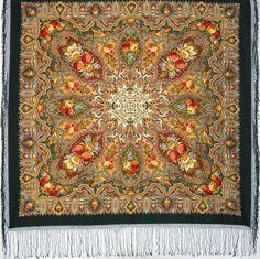 Elite green Russian Pavlovo Posad Wool Shawl by russianicon