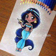 Jasmine as a Chibi character Disney Drawings Sketches, Cute Disney Drawings, Disney Princess Drawings, Disney Princess Art, Cute Drawings, Disney Kawaii, Jasmine Drawing, Jasmin Party, Drawing Cartoon Faces