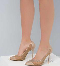 Hotiç Ayakkabı Modelleri Gold Topuklu Metal File Detaylı