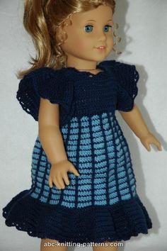 ABC Knitting Patterns - American Girl Doll Empire Waist Dress with Ruffles