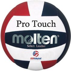 Molten Pro Touch Red, White, and Blue Japanese Leather Volleyball by Molten. $66.95. The Molten Pro Touch Red, White, and Blue Japanese Leather Volleyball features a host of performance enhancing features that have earned the respect of volleyball teams worldwide. A Premium Japanese leather covers a pattern nylon wound carcass using Moltens unique Uni-bladder construction method for complete softness, responsiveness, and durability.