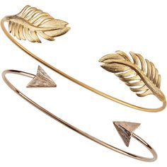 Tai Set of Two Arrow & Leaf Cuff Bracelets (47 CAD) ❤ liked on Polyvore featuring jewelry, bracelets, accessories, rings, fillers, cuff bracelet, tai jewelry, cuff bangle, cuff jewelry and leaf jewelry