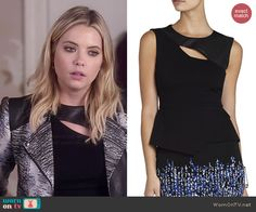 Bcbgmaxazria Farrah Asymmetrical Keyhole Top worn by Ashley Benson on PLL Fashion Tv, Fashion Outfits, Rebel Outfit, Pretty Little Liars Outfits, Hanna Pll, Hanna Marin, Pll Outfits, Print Jacket, Everyday Outfits