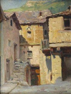 """Charles MANCIET """"Vieilles maisons de pierres dans un village de montagne"""""""