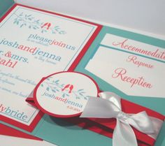 Red & Tiffany Blue Love Birds Wedding Invitations