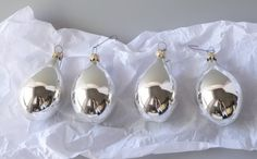 Four Glass Teardrop Christmas Ornaments Silver by BeeHavenHome