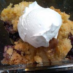 Blackberry and pear crisp