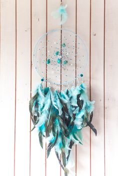 Blue dream catcher, Large Blue dream catcher, turquoise dreamcatcher, Wall…