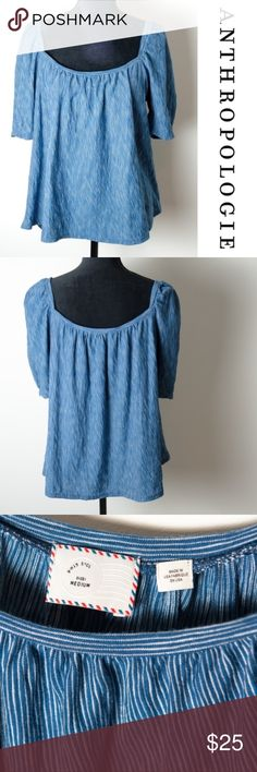 Anthropologie Postmark Blue Short Sleeve Stripe Good preloved condition Anthropologie Postmark blouse. Size medium blue and white horizontal stripes. Great for work or play. Has a gypsy / boho feel. No noticeable stains, holes or rips. Anthropologie Tops Blouses
