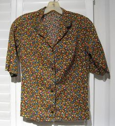 Vintage 1960s Stockton of Dallas Cotton Floral Print Short-Sleeved Blouse Size XS-Small by GoodBuyForNow on Etsy