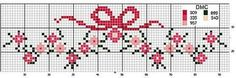 Border with simple floowers and bow - free cross stitch patterns crochet knitting amigurumi Cross Stitch Boarders, Cross Stitch Baby, Cross Stitch Flowers, Cross Stitch Charts, Cross Stitch Designs, Cross Stitching, Cross Stitch Embroidery, Cross Stitch Patterns, Hand Embroidery Patterns