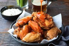 Spicy buffalo wings with blue cheese dip