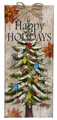 "Decorated Christmas Tree Plaque with ""Happy Holiday"" Message - Welcome Sign Art #Ganz"