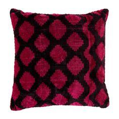 Bordeaux Lucy Velvet Ikat Pillow