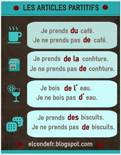 Les articles partitifs et la négation – MOddou FLE French Verbs, French Grammar, French Phrases, French Quotes, French Expressions, French Language Lessons, French Language Learning, French Lessons, Spanish Lessons
