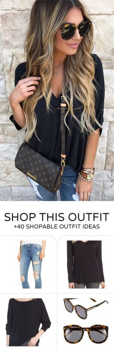 #summer #outfits  Black Blouse + Ripped Skinny Jeans