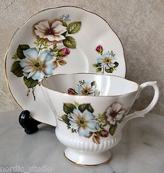 Teacup Saucer Set Royal Albert English Bone China White Wild Roses