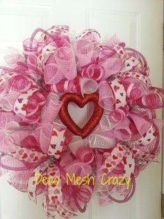 Valentine's Day Deco Mesh Wreath- www.facebook.com/decomeshcrazy