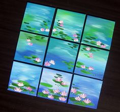 Small blue paintings, blue and green art with water lilies, small blue painting… Multi Canvas Painting, Small Canvas Art, Blue Painting, Mini Canvas, Monet Paintings, Small Paintings, Watercolor Paintings, Acrylic Paintings, Monet Water Lilies