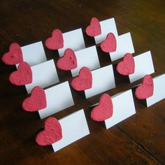 Wedding place card - Seed paper hearts on tent card - Escort card, name card, placecard - Garden wedding - Ecofriendly wedding - Set of 10