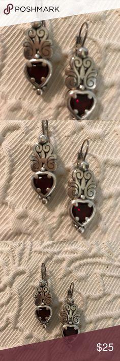 Brighton Earrings Brighton heart shaped earrings with ruby stone. Brighton Jewelry Earrings