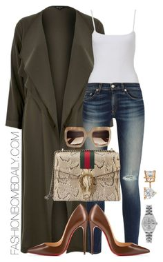 """Untitled #1934"" by dnicoleg ❤ liked on Polyvore featuring River Island, rag & bone, Gucci, Christian Louboutin, Rolex and Allurez"