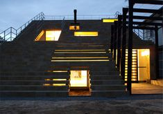 staircase house at night