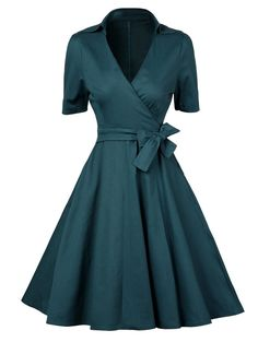 Low Cut Vintage Wrap Dress - BLACKISH GREEN M