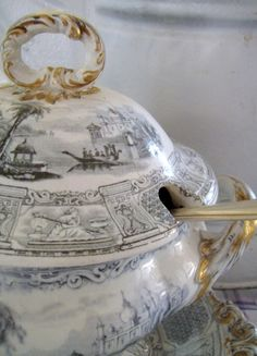 Antique Blue and White Soup Tureen