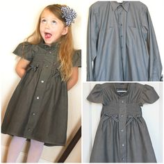 How to transform old shirts into adorable summer dresses for girls – style ideas Old Shirts, Dad To Be Shirts, Shirts For Girls, Little Dresses, Girls Dresses, Robe Diy, Evening Dresses, Summer Dresses, Shirt Refashion