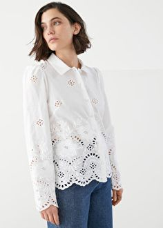 Broderie Anglaise Blouse - White - Blouses - & Other Stories