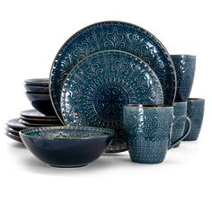 Bring brilliant, modern elegance to your dinner table by choosing this excellent Elama Deepsea Mozaic Mandala Blue Stoneware Dinnerware Set. Stoneware Dinnerware Sets, Square Dinnerware Set, Tableware, Blue Dinnerware Sets, Dinnerware Ideas, Modern Dinnerware, Kitchenware, Brown Trim, Blue Brown