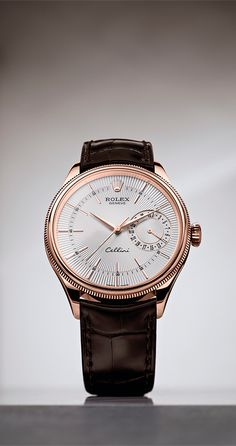 Rolex Watches New Collection : The Cellini Date in Everose gold, with a silver guilloche dial and brown le. - Watches Topia - Watches: Best Lists, Trends & the Latest Styles Armani Watches For Men, Vintage Watches For Men, Stylish Watches, Vintage Rolex, Luxury Watches For Men, Cool Watches, Rolex Watches, Rolex Gmt, Fine Watches