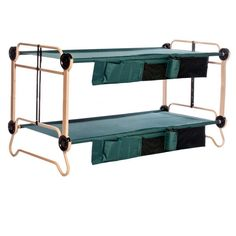 Disc-O-Bed 40 in. Green Bunkbable Beds with Leg Extensions and Bed Side Organizers - The Home Depot Camping Cot, Camping Gear, Camping Hacks, Camping Outdoors, Camping Stuff, Camping Foods, Camping Gadgets, Backpacking, Sitting Bench