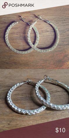 Diamond Glitter Silver Hoop Earrings Sparkling silver diamond hoop earrings with stud clasp. Excellent condition Jewelry Earrings