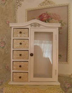 Wood Curio Cabinet Vintage Style with Roses Shabby~Cottage~French  #Cottage
