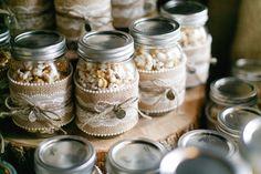 DIY Popcorn Mason Jar Wedding Favors - cute idea - I made those very same mason jar decorations for Erin's Bridal Shower.