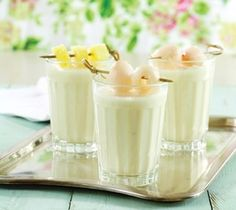 Tropical lychee smoothie.. 150g frozen pineapple chunks 75g (about ½ cup) lychees, peeled and pitted ¼ cup coconut milk 1 scoop vanilla ice cream In a blender, combine pineapple, lychees, coconut milk, and ice cream. Blend until smooth..... the only thing i would change is put frozen greek yogurt instead of ice cream! :) yummy and healthy summer treat! even good as popsicles :)
