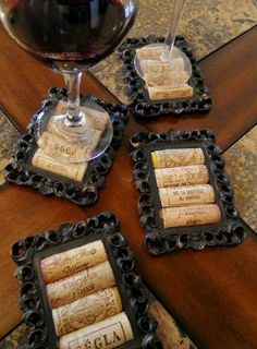 Coasters with 99 cent store frames and wine corks