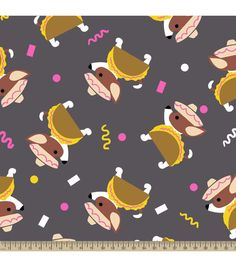 Anti Pill Fleece Fabric-Taco Dog