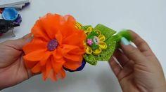 Flor Chifon elegante, boton de rosa con cinta, flor kanzashi, formando t...