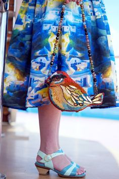 Winnipeg Style, Carnival Caribbean Dream Cruise, Chicwish Santorini printed midi skirt, Mary Frances Flight of Fancy bird clutch bag purse, Fluevog Wish leather sandal Mary Frances, Party Mix, Beaded Clutch, Leather Bags, Clutch Purse, Unique Fashion, Evening Bags, Pouches, Pinup