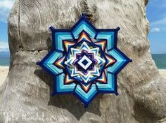 Blue Star Mandala, Ojo De Dios, 16 inch, Wall Hanging, by custom order