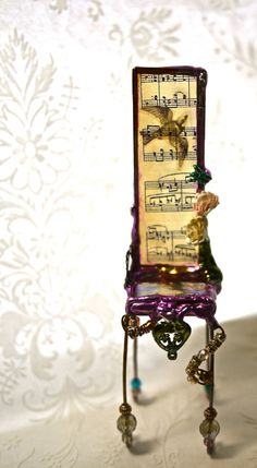 Miniature Art Chair Music Bird by urbangipsy on Etsy, $65.00