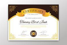 Elegant certificate template with golden design Certificate Of Participation Template, Certificate Design Template, Printable Certificates, Design Templates, Certificate Background, Cover Page Template, Gift Card Template, Award Template, Certificate Of Appreciation