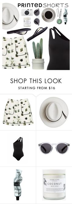 """Printed shorts"" by sanddollardubai ❤ liked on Polyvore featuring Topshop, Calypso Private Label, Melissa Odabash, Illesteva, Bunn, Aesop, Herbivore, Havaianas and printedshorts"