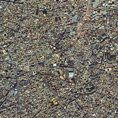 The medina quarter in Marrakesh, Morocco is characterized by its winding, maze-like streets. Because the intricately connected honeycomb of alleyways narrows to less than a meter wide (~ 3 feet) at certain spots, the area is generally free from car traffic.
