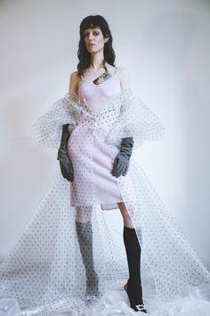 Dress and Sleeping Gown Rosamosario, Gloves Stylist's Archive, Socks Egon von Furstenberg, Shoes Roger Vivier
