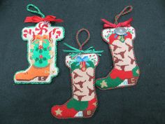 Holiday western boot ornaments